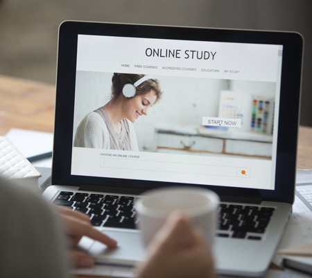A person taking an online course.